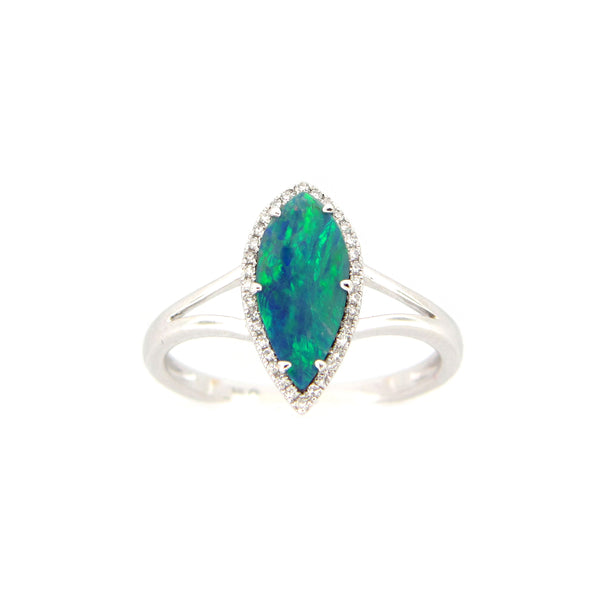 Marquise Shape Black Opal and Diamond Halo Ring, 14K White Gold