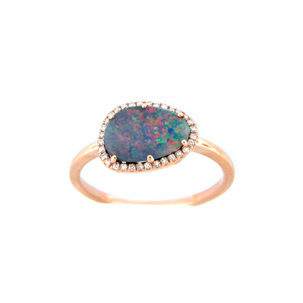Black Opal and Diamond Halo Ring, 14K Rose Gold