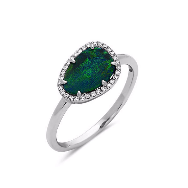 Black Opal and Diamond Halo Ring, 14K White Gold