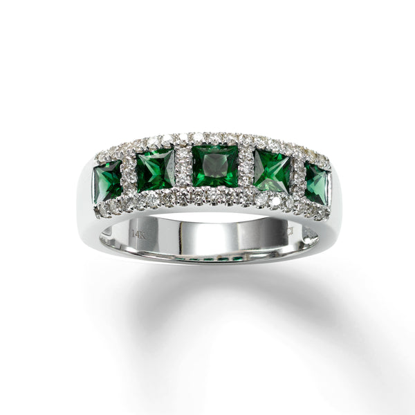Five Stone Emerald and Diamond Ring, 14K White Gold