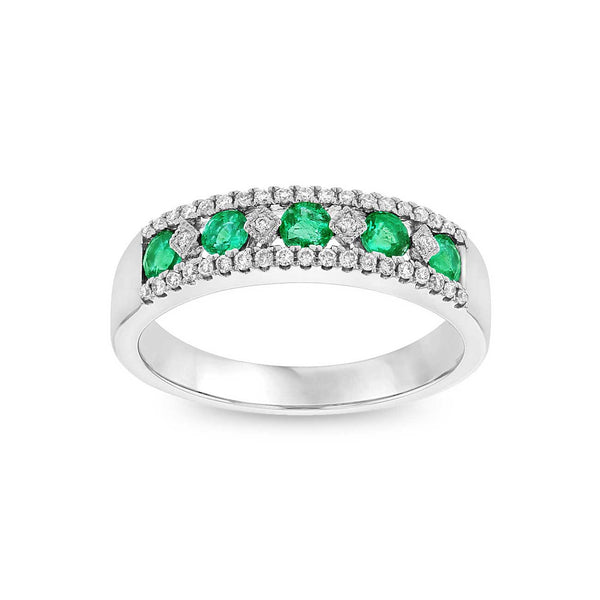 Vintage Design Emerald and Diamond Ring, 14K White Gold