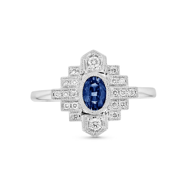 Deco Style Sapphire and Diamond Band, 14K White Gold