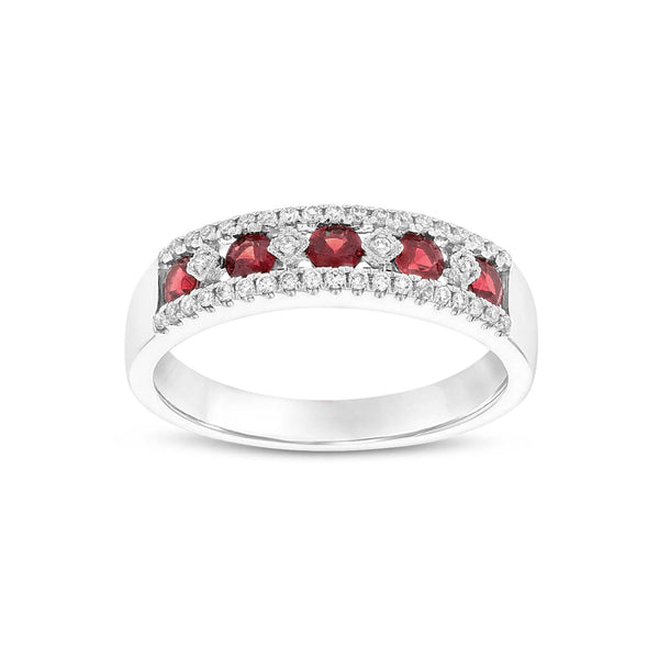 Vintage Design Ruby and Diamond Ring, 14K White Gold