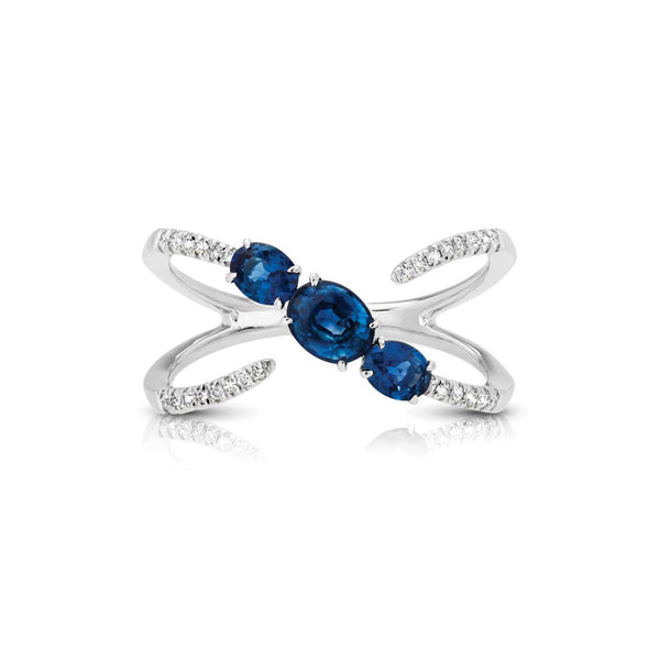 Open Design Blue Sapphire and Diamond Ring, 14K White Gold