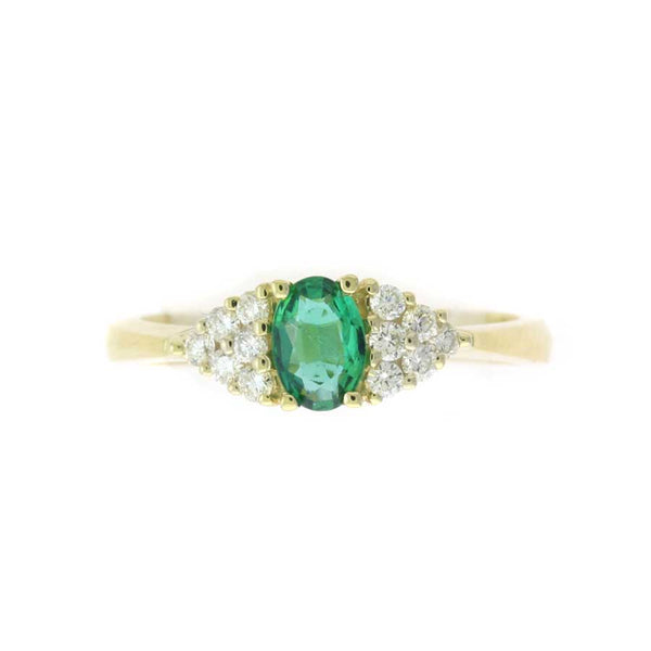 Oval Emerald and Diamond Ring, 14K Yellow Gold