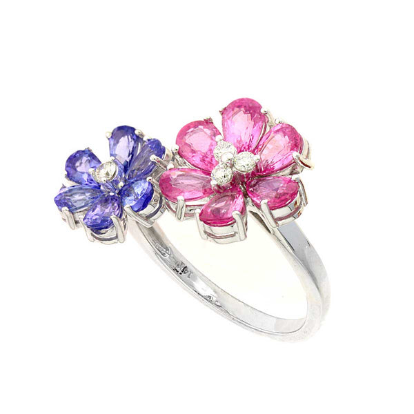 Pink Sapphire and Tanzanite Flower Ring, 14K White Gold