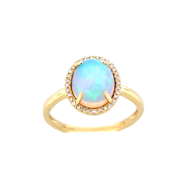 Oval Opal Cabochon and Diamond Halo Ring, 14K Yellow Gold