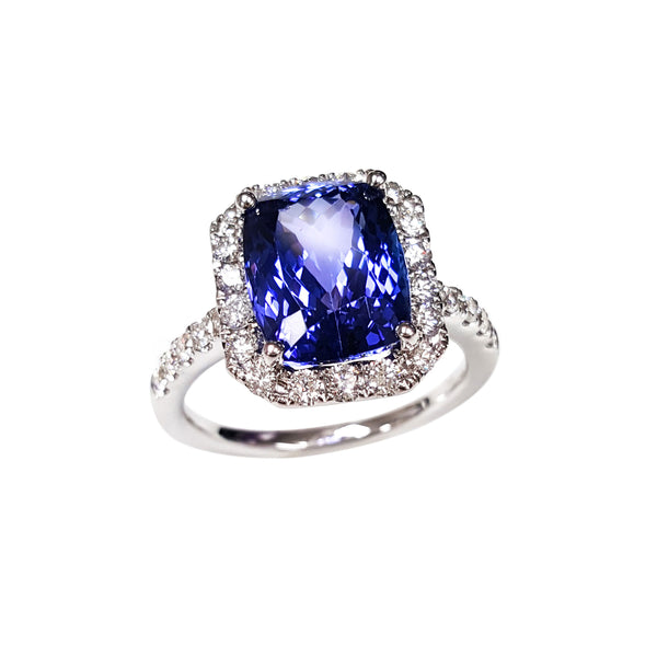 Faceted Tanzanite and Diamond Halo Ring, 14K White Gold