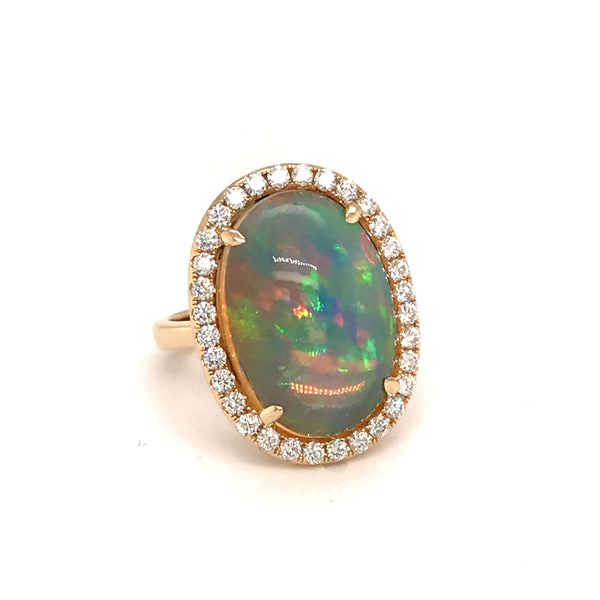 Large Oval Opal and Diamond Halo Ring, 14K Yellow Gold