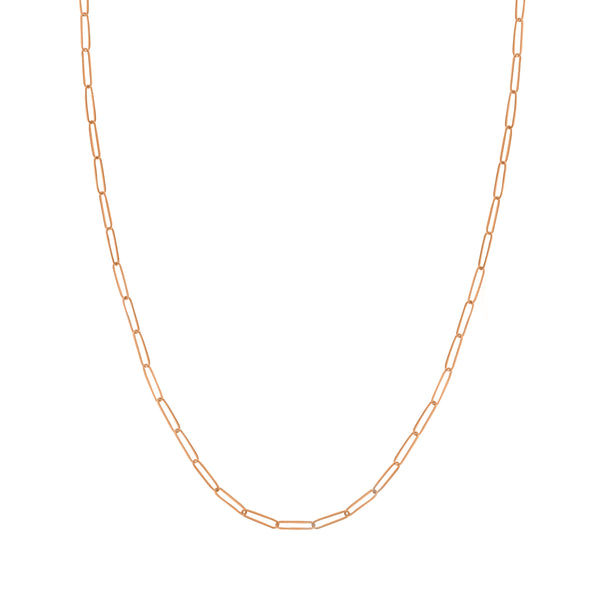 Elongated Link Chain Necklace, 18 Inches, 14K Rose Gold