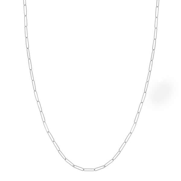 Elongated Link Chain Necklace, 18 Inches, 14K White Gold