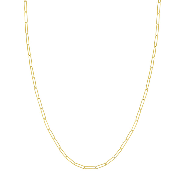 Elongated Link Chain Necklace, 18 Inches, 14K Yellow Gold