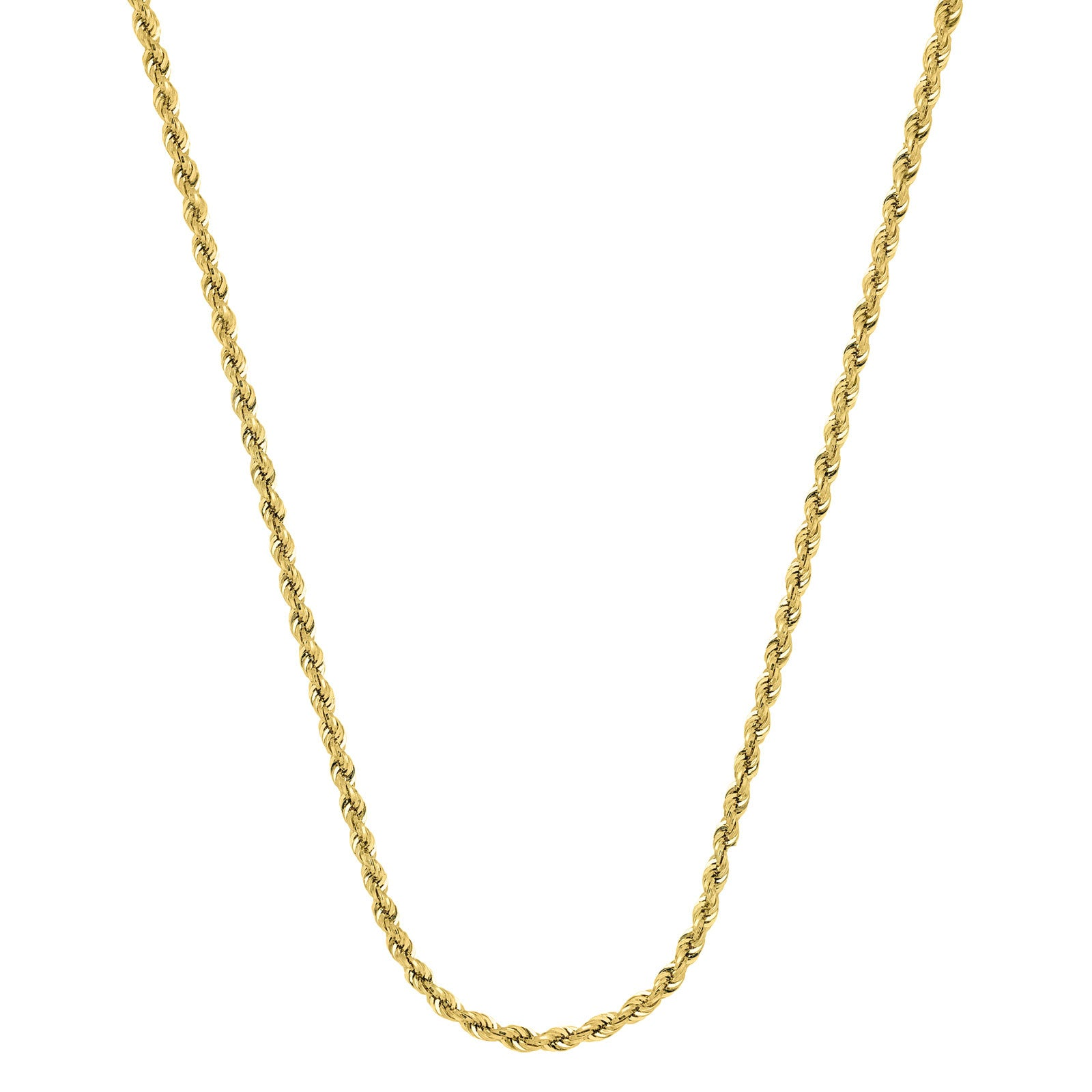 Hollow Rope Chain Necklace, 20 Inches, 14K Yellow Gold