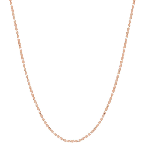 Flat Mirror Chain Necklace, 24 Inches, 14K Rose Gold