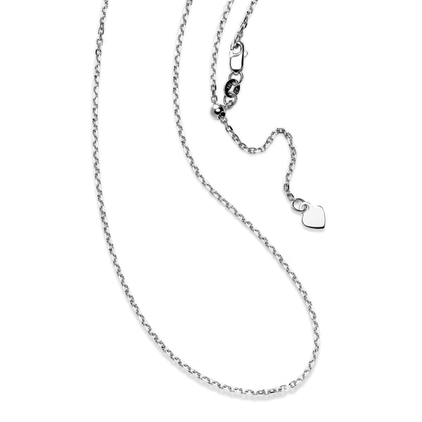 Adjustable Cable Chain with Heart Dangle, 30 Inches, Sterling Silver