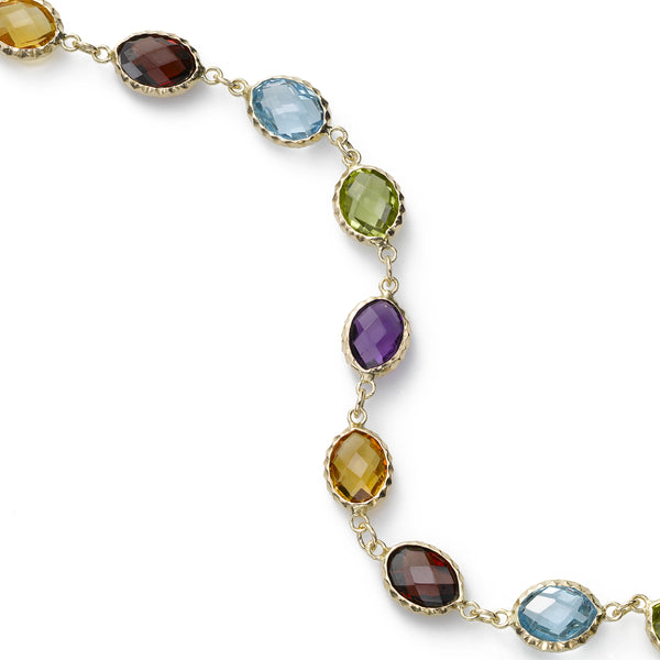 Bezel Set Multi Color Gemstone Bracelet, 14K Yellow Gold