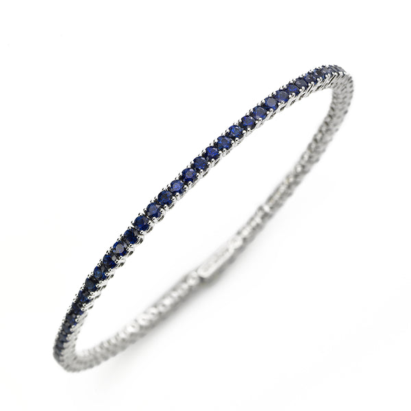 Blue Sapphire Cuff Style Bangle Bracelet, 18K White Gold