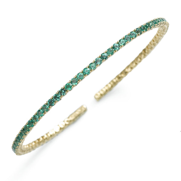 Genuine Emerald Cuff Style Bangle Bracelet, 18K