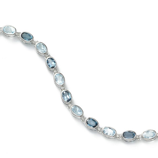 Blue Topaz Gemstone Bracelet, 14K White Gold