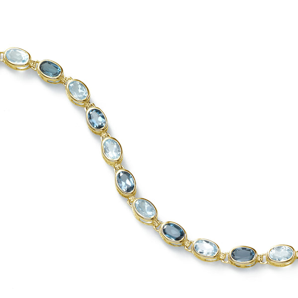 Blue Topaz Gemstone Bracelet, 14K Yellow Gold