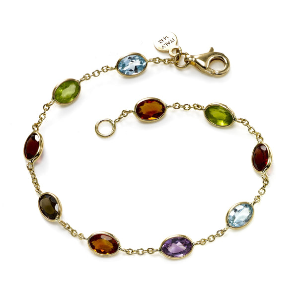 Multi Color Gemstone Bracelet, 14K Yellow Gold