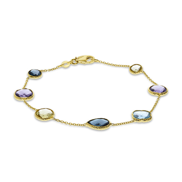Multi Color Gemstone Flexible Bracelet, 14K Yellow Gold