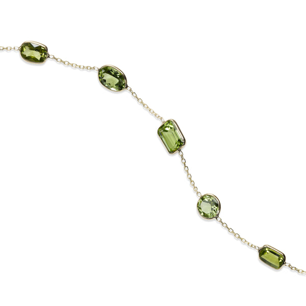 Bezel Set Peridot Station Bracelet, 14K Yellow Gold
