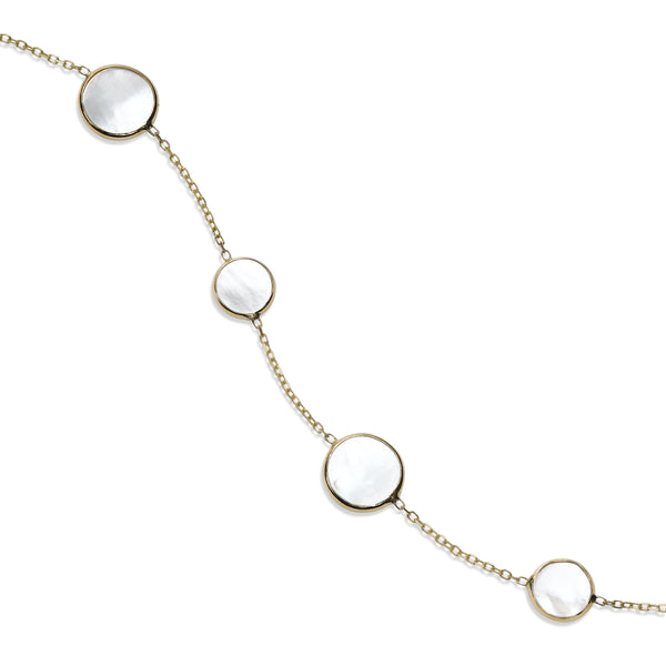 Bezel Set Mother of Pearl Station Bracelet, 14K Yellow Gold