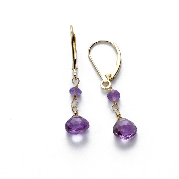 Amethyst Dangle Earring, 14K Yellow Gold