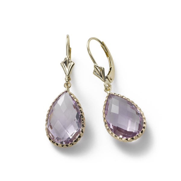 Pearshape 'Rose de France' Amethyst Earrings, 14K Yellow Gold