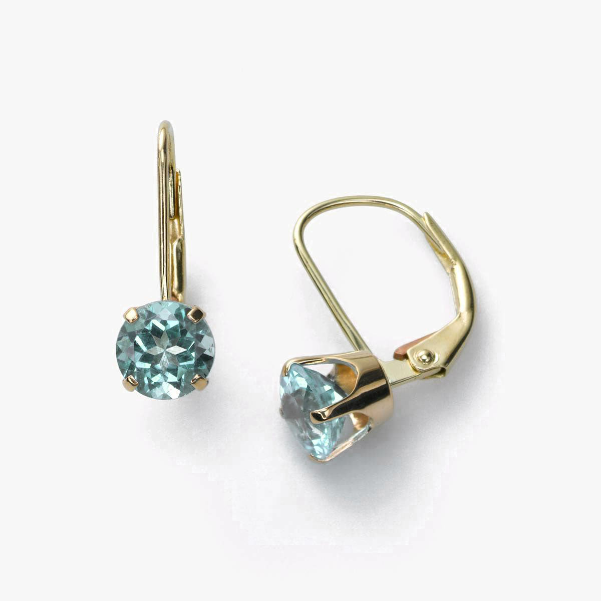 Blue Topaz Leverback Earring, 14K Yellow Gold