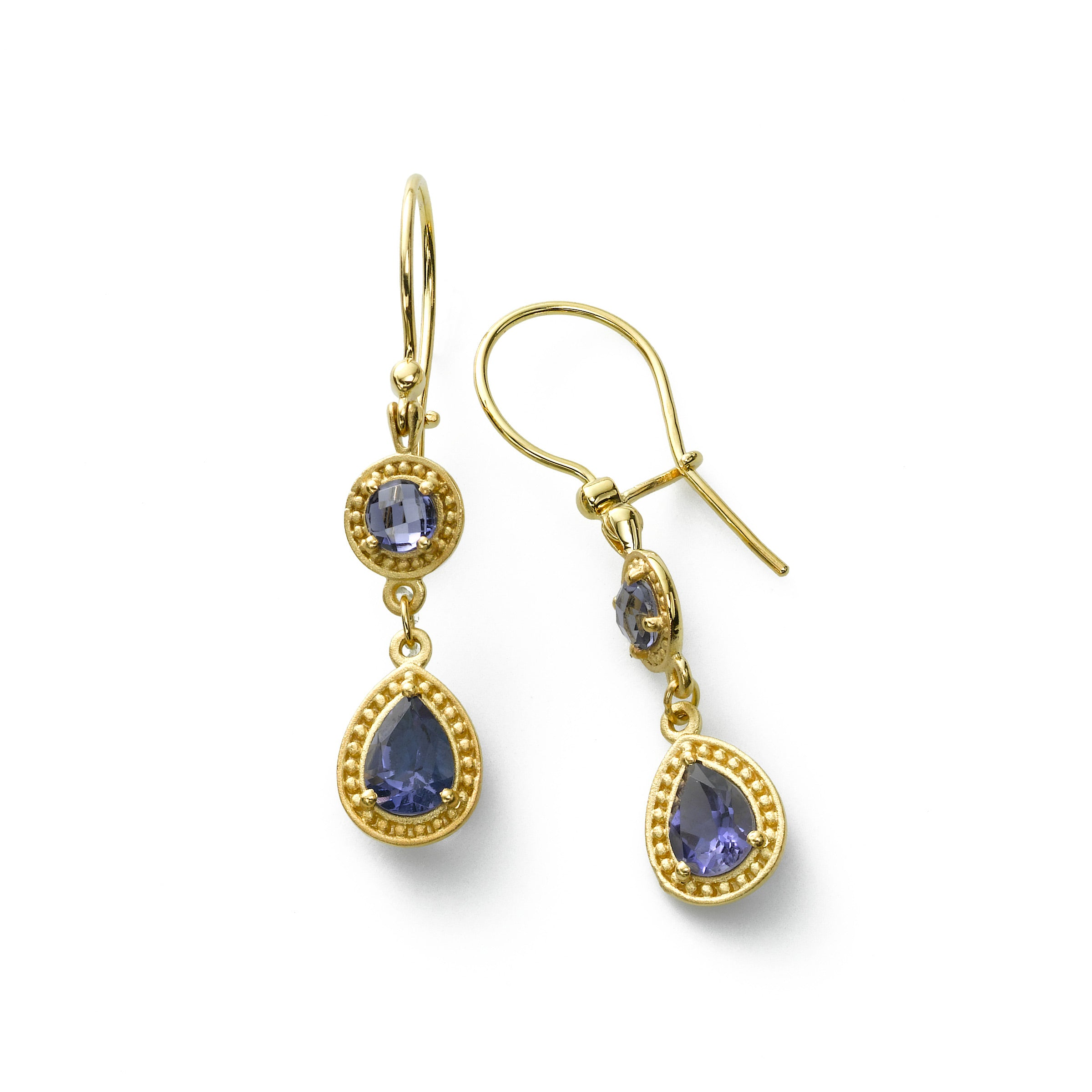 Iolite Double Drop Earring, 14K Yellow Gold