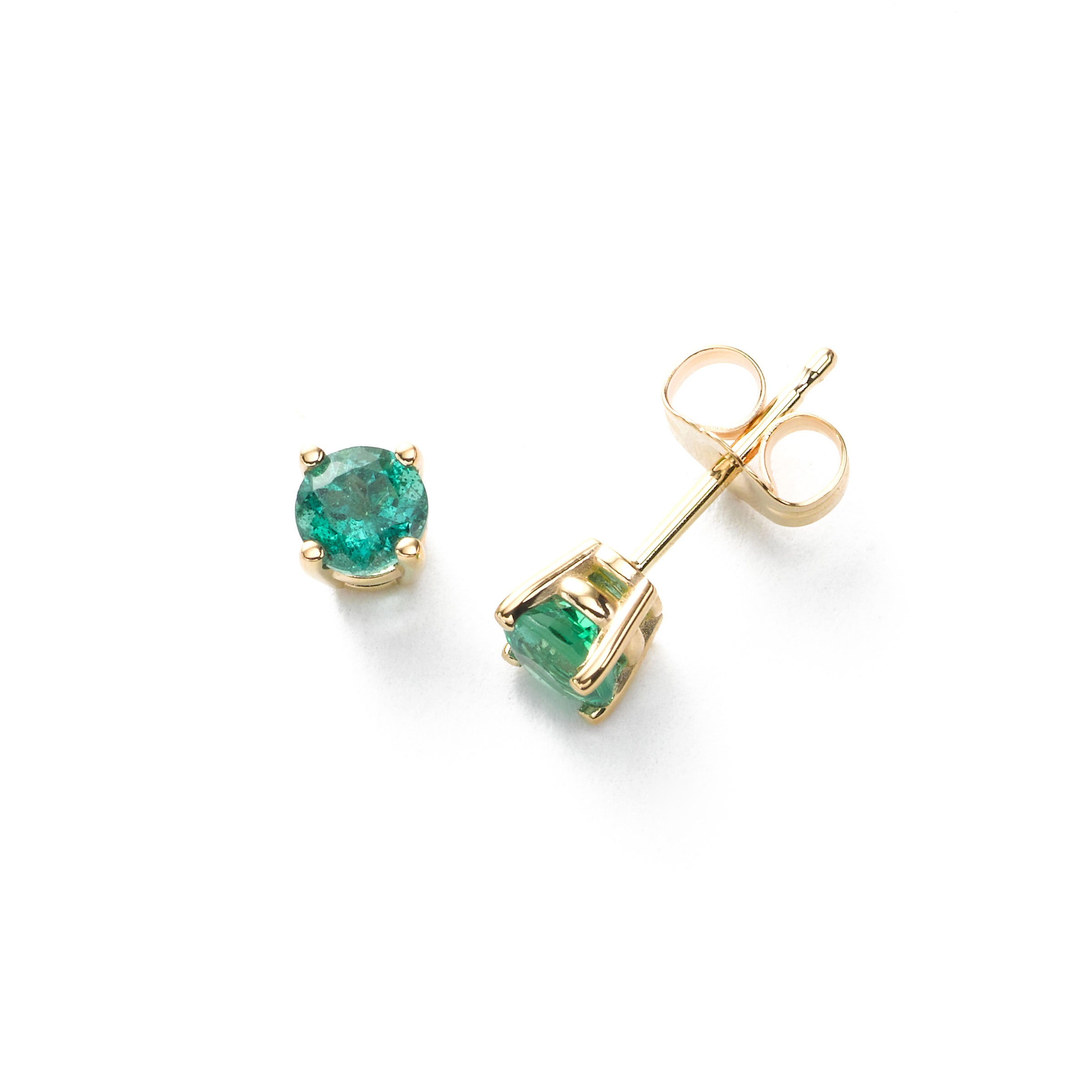 Emerald Stud Earring, 14K Yellow Gold