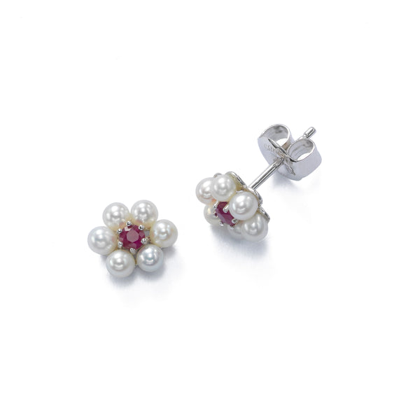 Petite Pearl With Ruby Flower Earrings, 14K White Gold