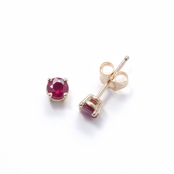 Genuine Ruby Stud Earrings, 14K Yellow Gold