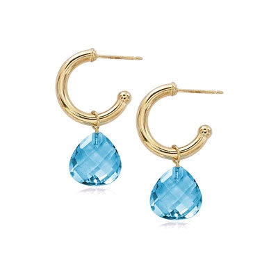 Hoop Earrings with Blue Topaz Briolettes, 14K Yellow Gold