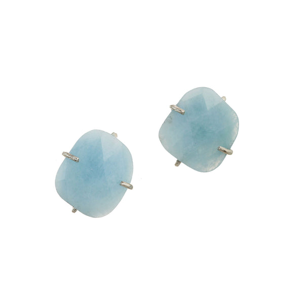 Flat Faceted Aquamarine Clip Earrings, Sterling Silver