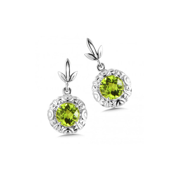 Round Faceted Peridot Drop Earrings, Sterling Silver