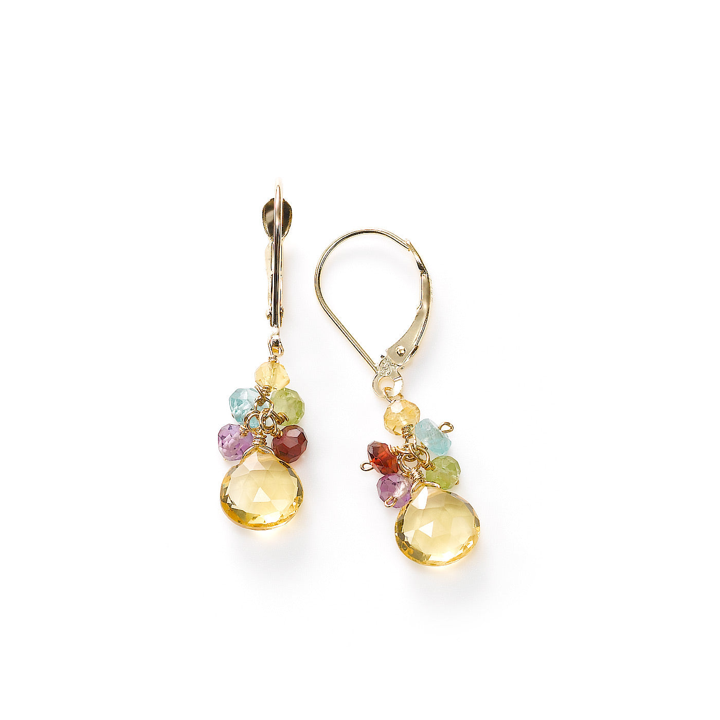 Citrine and Multi Gemstone Dangle Earrings, 14K Yellow Gold