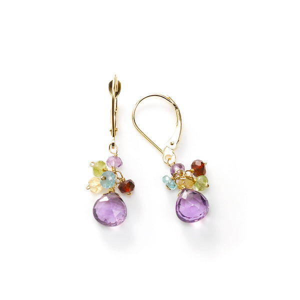Amethyst and Multi Gemstone Dangle Earrings, 14K Yellow Gold