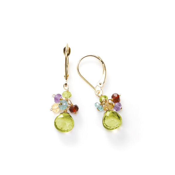 Peridot and Multi Gemstone Dangle Earrings, 14K Yellow Gold