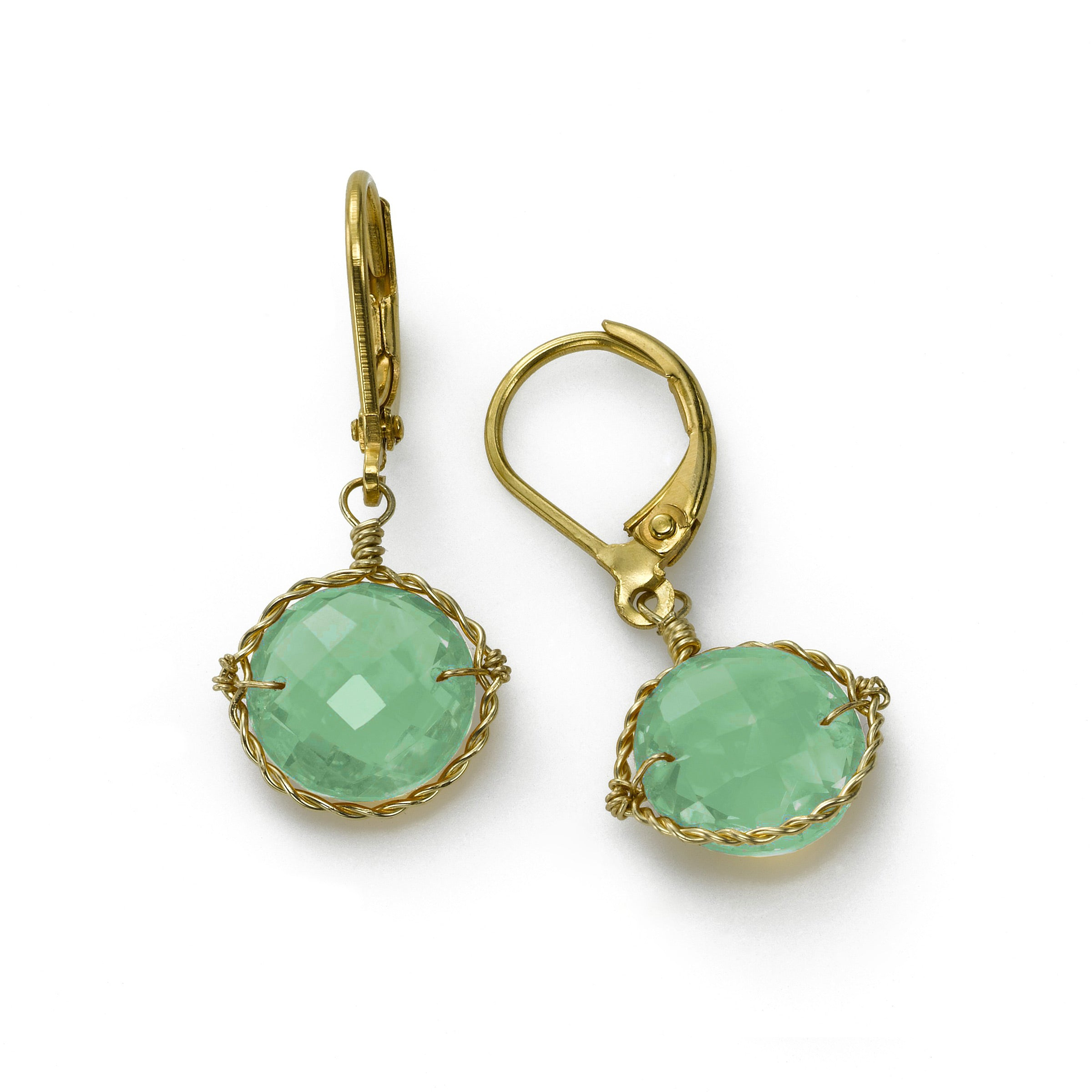 Chrysoprase Drop Earrings, 14 Karat Gold Filled