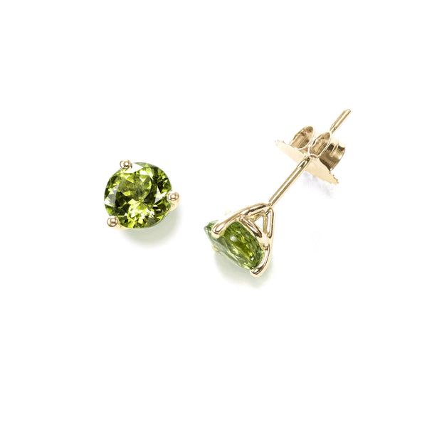 Three Prong Peridot Martini Stud Earrings, 14K Yellow Gold