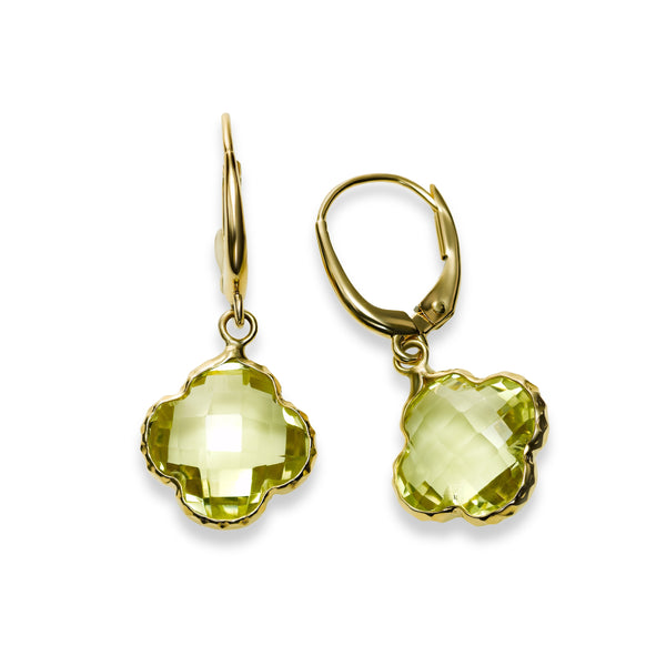Lemon Quartz Drop Earrings, 14K Yellow Gold