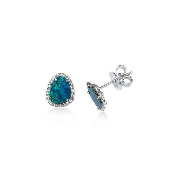 Black Opal and Diamond Halo Earrings, 14K White Gold