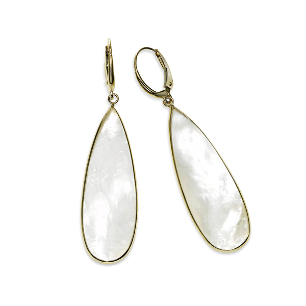 Large Mother of Pearl Dangle Earrings, 14K Yellow Gold