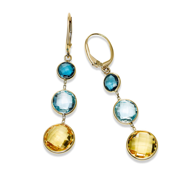 Bezel Set Multi Gemstone Dangle Earrings, 14K Yellow Gold