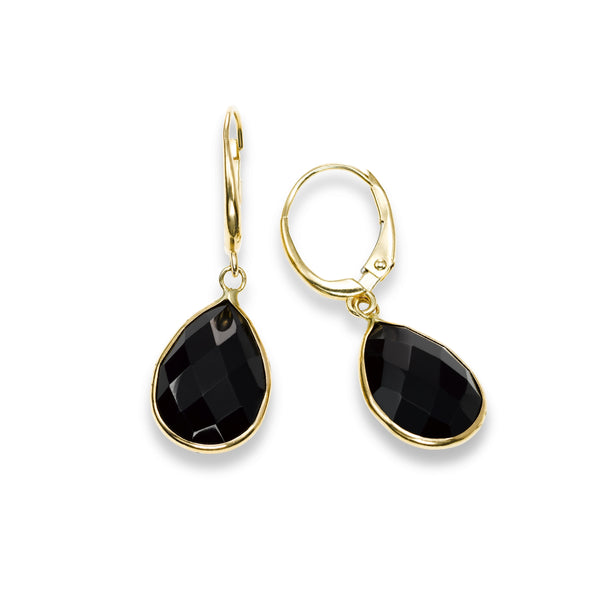Pear Shape Black Onyx Dangle Earrings, 14K Yellow Gold