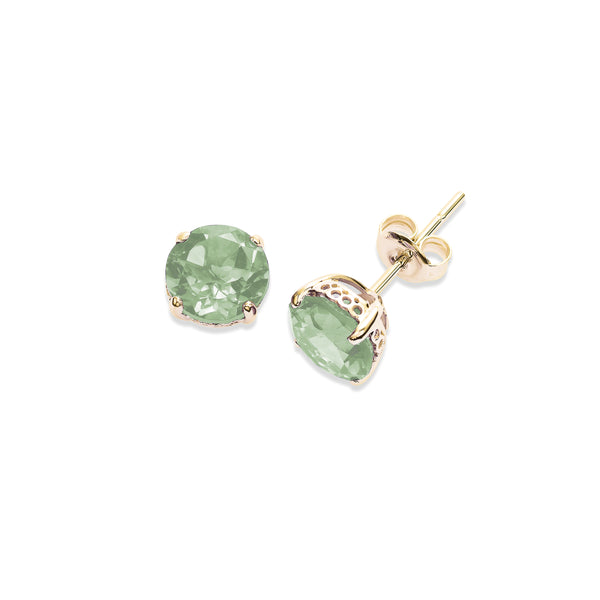 Round Prasiolite Stud Earrings, 6 MM, 14K Yellow Gold