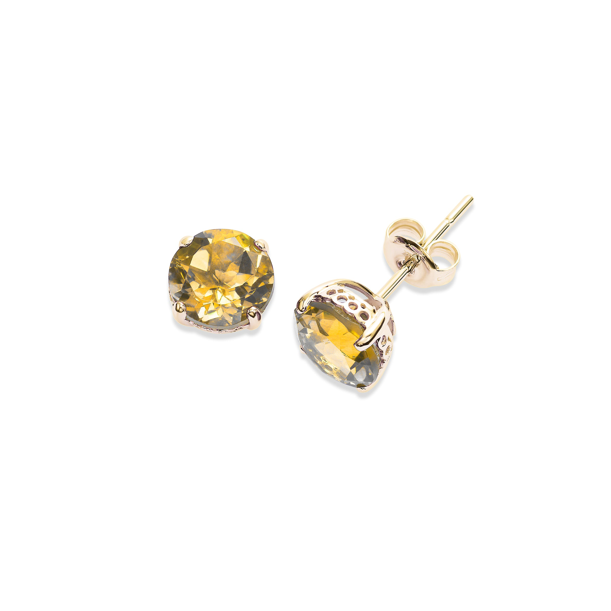 Round Citrine 8MM Stud Earrings, 14K Yellow Gold